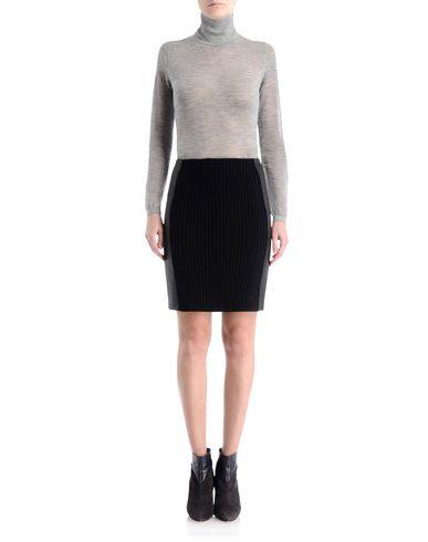 Cashmere Skirt With Leather Panels