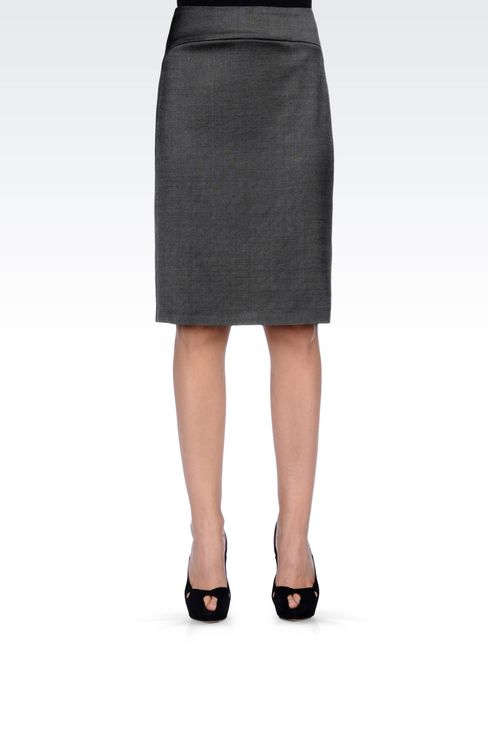 PENCIL SKIRT IN WOOL BLEND: Knee length skirts Women by Armani - 3