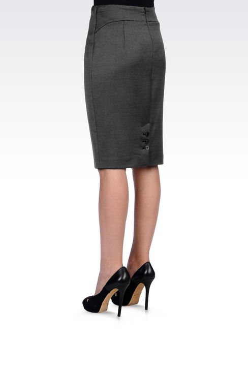 PENCIL SKIRT IN WOOL BLEND: Knee length skirts Women by Armani - 4