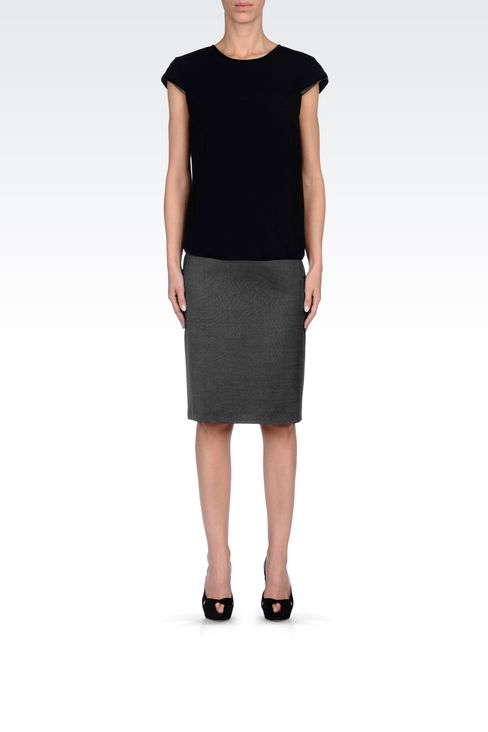 PENCIL SKIRT IN WOOL BLEND: Knee length skirts Women by Armani - 2