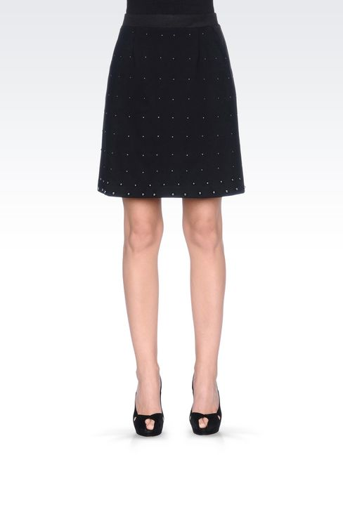 MILANO RIB SKIRT WITH EMBROIDERED APPLIQUÉS: Knee length skirts Women by Armani - 3