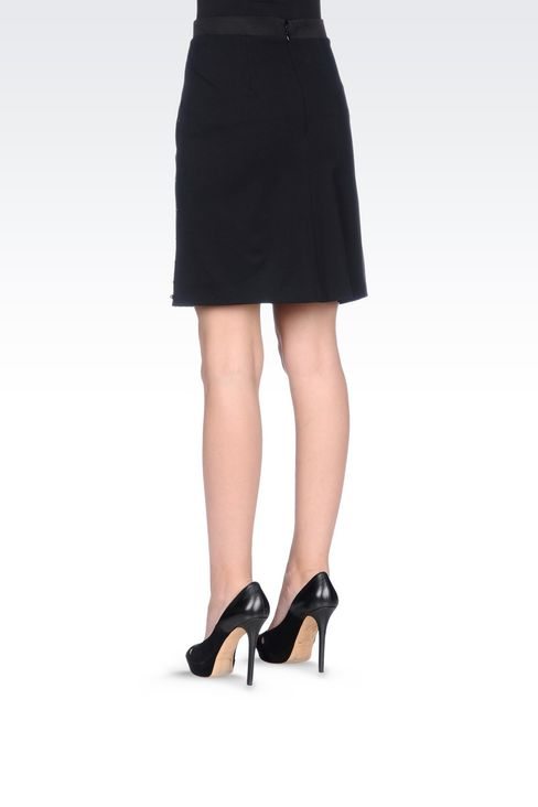 MILANO RIB SKIRT WITH EMBROIDERED APPLIQUÉS: Knee length skirts Women by Armani - 4