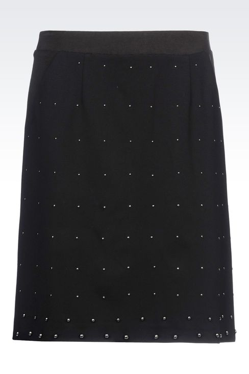 MILANO RIB SKIRT WITH EMBROIDERED APPLIQUÉS: Knee length skirts Women by Armani - 1