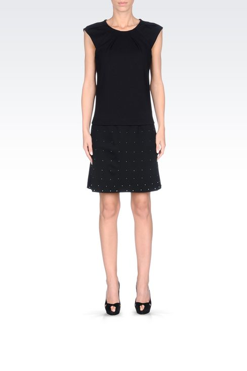 MILANO RIB SKIRT WITH EMBROIDERED APPLIQUÉS: Knee length skirts Women by Armani - 2