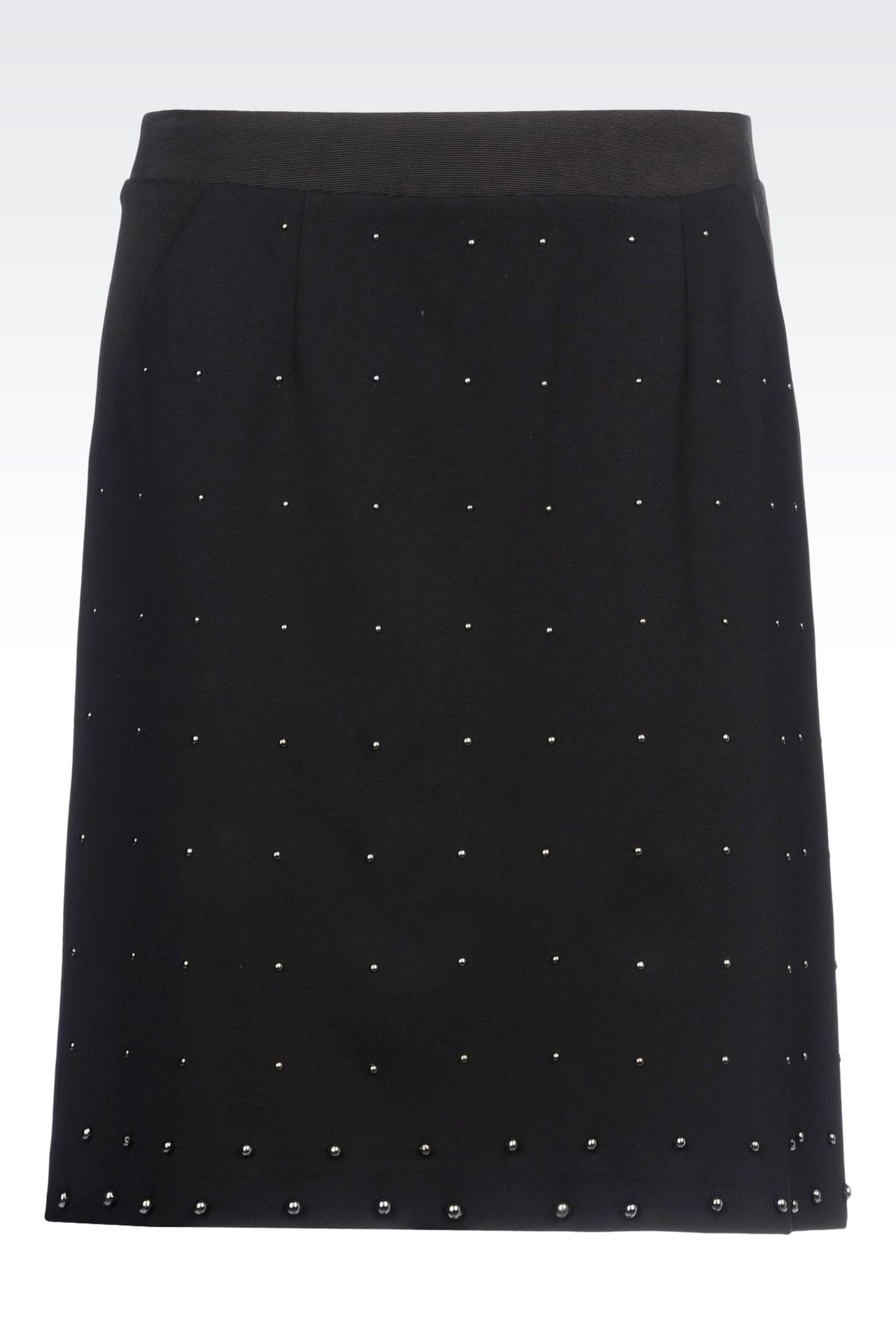 MILANO RIB SKIRT WITH EMBROIDERED APPLIQUÉS: Knee length skirts Women by Armani - 0