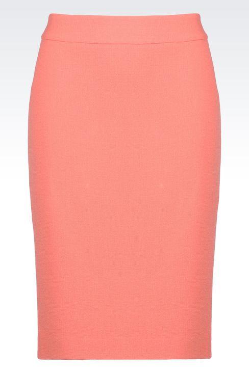 PENCIL SKIRT IN WOOL CRÊPE: Knee length skirts Women by Armani - 1