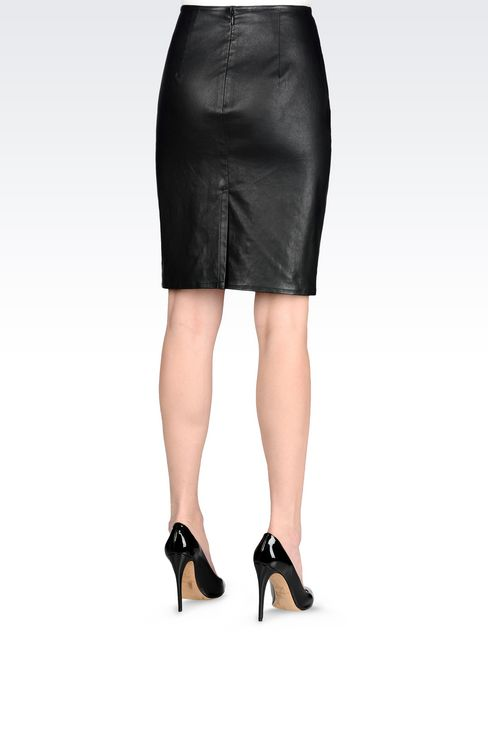 PENCIL SKIRT IN NAPA LAMBSKIN: Knee length skirts Women by Armani - 3