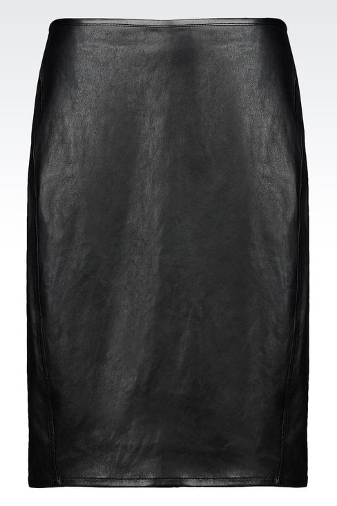 PENCIL SKIRT IN NAPA LAMBSKIN: Knee length skirts Women by Armani - 1