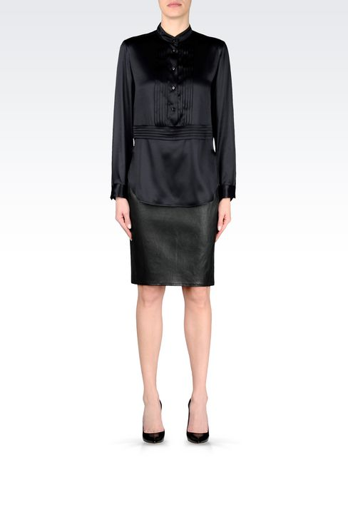 PENCIL SKIRT IN NAPA LAMBSKIN: Knee length skirts Women by Armani - 2