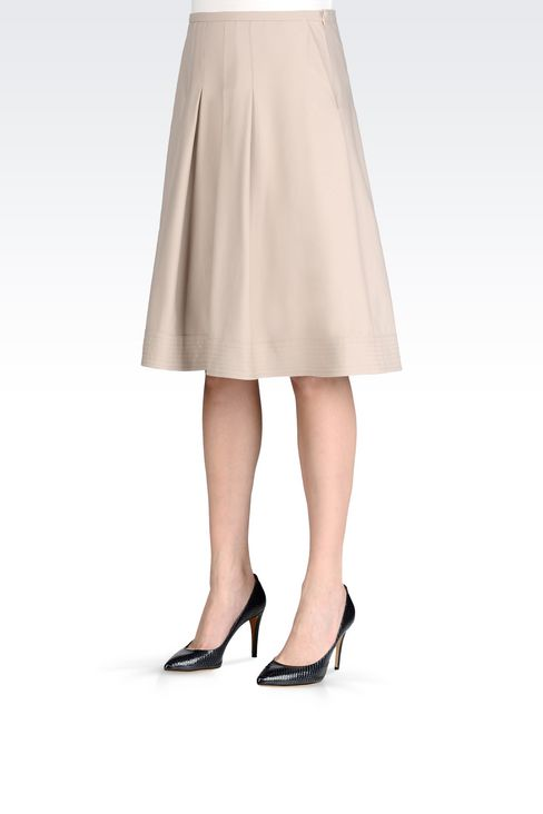 SKIRT IN STRETCH COTTON: 3/4 length skirts Women by Armani - 3
