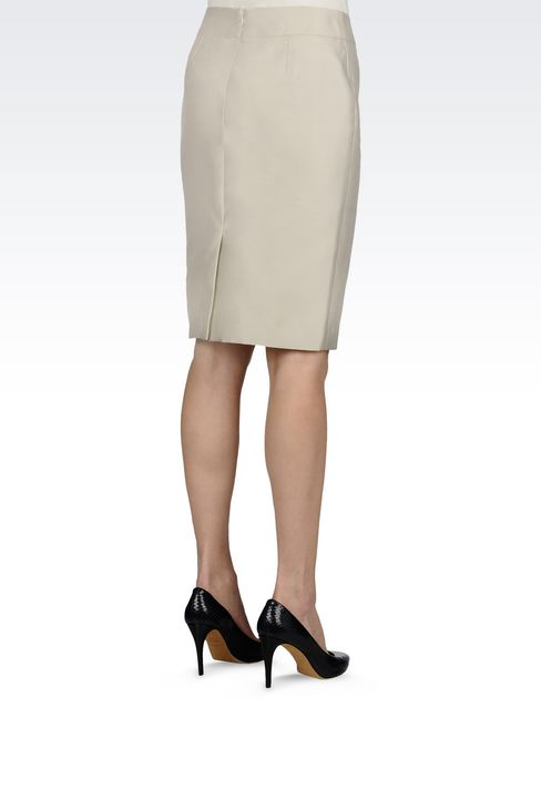 PENCIL SKIRT IN SILK BLEND: Knee length skirts Women by Armani - 3