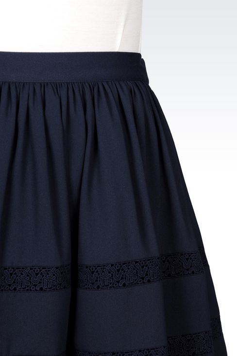 CRÊPE SKIRT WITH LACE DETAILS: Mini skirts Women by Armani - 5