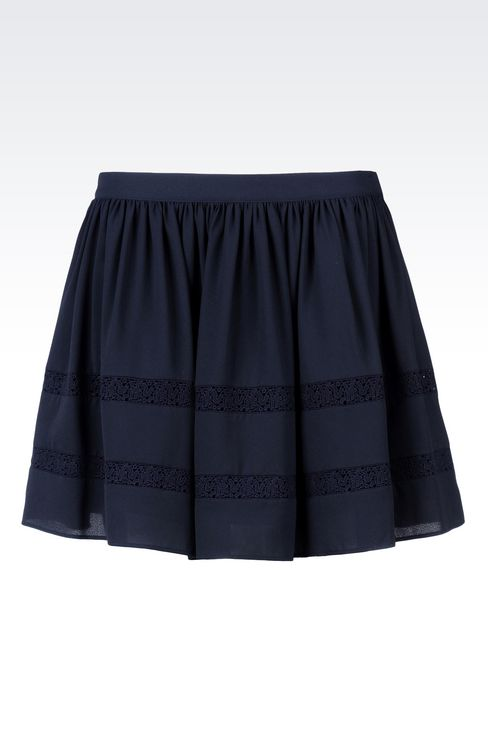 CRÊPE SKIRT WITH LACE DETAILS: Mini skirts Women by Armani - 1