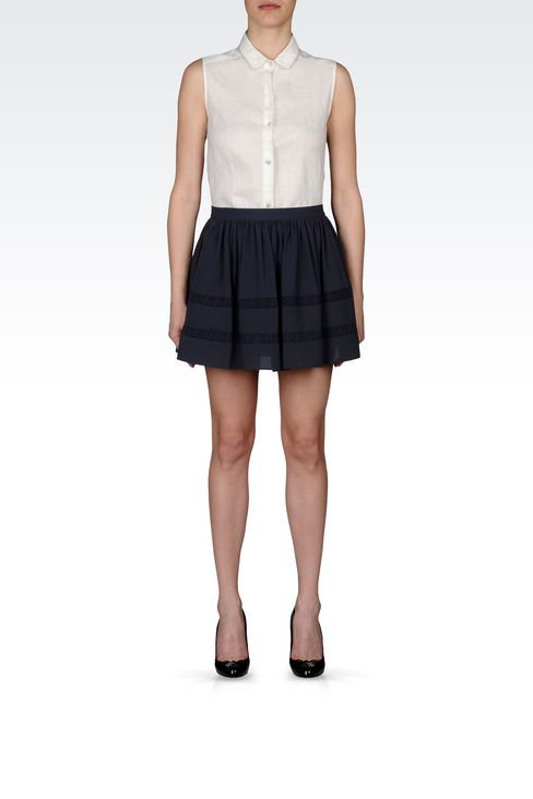 CRÊPE SKIRT WITH LACE DETAILS: Mini skirts Women by Armani - 2