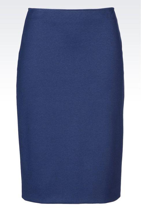 PENCIL SKIRT IN MILANO RIB: Knee length skirts Women by Armani - 1