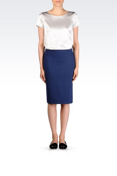 PENCIL SKIRT IN MILANO RIB: Knee length skirts Women by Armani - 2
