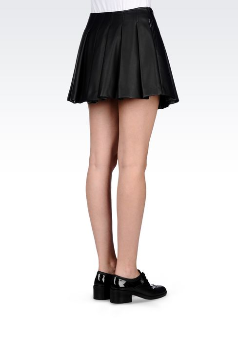 SKIRT IN FAUX LEATHER: Mini skirts Women by Armani - 3