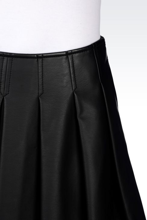 SKIRT IN FAUX LEATHER: Mini skirts Women by Armani - 4