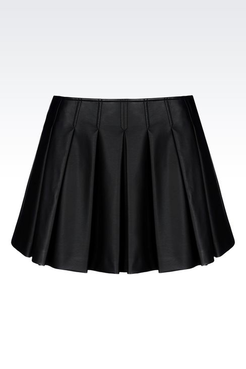 SKIRT IN FAUX LEATHER: Mini skirts Women by Armani - 1