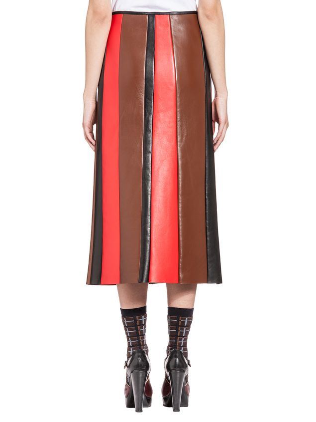 skirt in leather for a multi colored effect marni