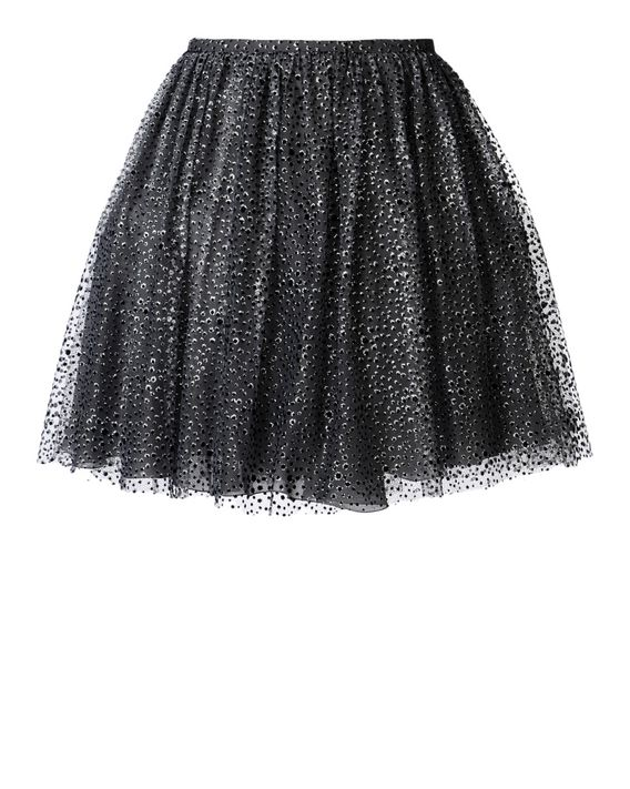 REDValentino Glitter and flock printed tulle skirt
