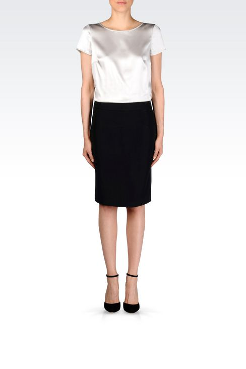 PENCIL SKIRT IN CADY: Mini skirts Women by Armani - 2