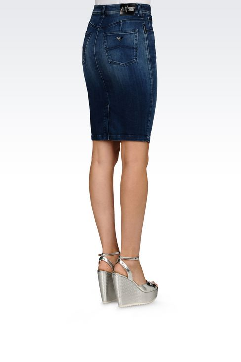 PENCIL SKIRT IN DENIM: Knee length skirts Women by Armani - 3