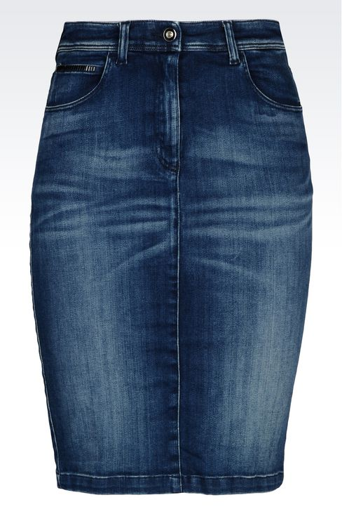 PENCIL SKIRT IN DENIM: Knee length skirts Women by Armani - 1