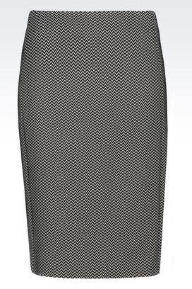 Armani Knee length skirts Women pencil skirt chevron design