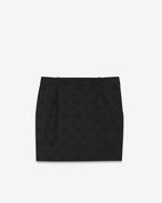 Mini-Röhrenrock aus schwarzer Schurwolle mit Sternenjacquard