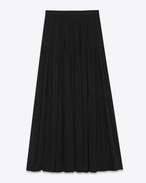 Folk Long Skirt in Black Cotton, Polyester and Viscose Lace