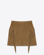 Fringed Skirt in Tobacco Suede