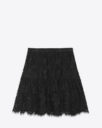 Folk Mini Skirt in Black Cotton, Polyester and Viscose Lace