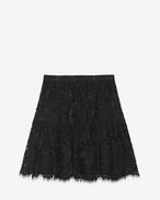 Mini-jupe folk en dentelle de coton, polyester et viscose noire