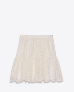 Folk Mini Skirt in Ivory Cotton, Polyester and Viscose Lace