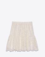 Mini-jupe folk en dentelle de coton, polyester et viscose ivoire