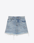 Repaired Mini Skirt in Dirty Light Blue Heavy Denim Twill