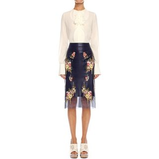 ALEXANDER MCQUEEN, Skirt, Glove Leather Floral Skirt
