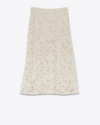 Mid-Length Skirt in Ivory Cotton, Viscose and Polyamide Lace