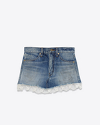 Mini Skirt with Lace in Medium Blue Denim