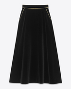 ANGIE Midi Skirt in Black Cotton Velour