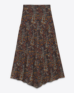 Long tiered skirt in Multicolor Vintage Paisley Viscose Crêpe