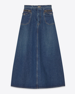 Flap Pocket Long Denim Skirt in Medium Blue Denim
