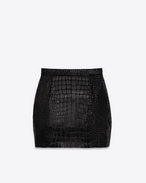 80's Mini Skirt in Black Velvet and Shiny Faux Crocodile