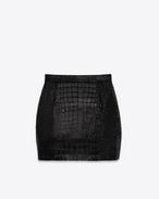 Mini-jupe 80's en velours noir et faux crocodile brillant