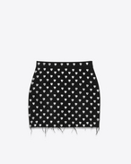 80's Heart-Studded Mini Skirt in Rinse Black Denim and Silver-Toned Metal