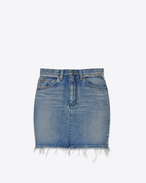 80's Studded Mini Skirt in Light Blue Denim and Silver-Toned Metal