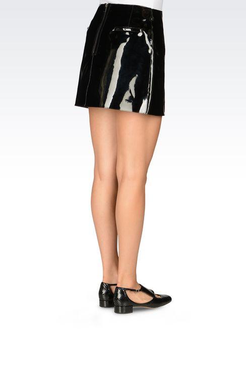 RUNWAY SKIRT IN VINYL: Mini skirts Women by Armani - 4