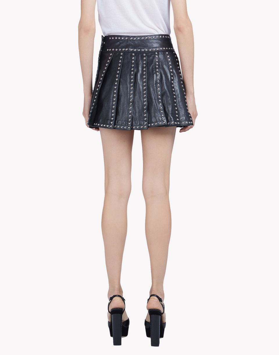 dsquared2 studded leather pleated mini skirt leather