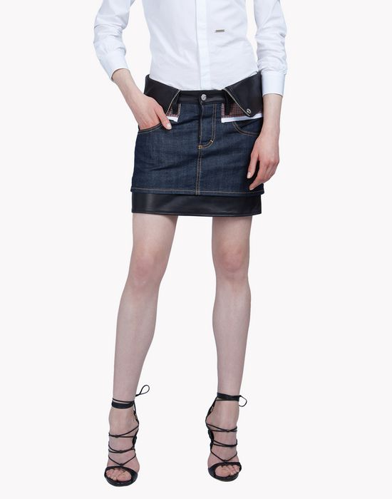leather check denim skirt gonne Donna Dsquared2